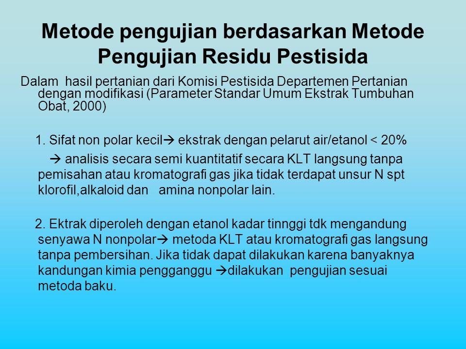 Metode pengujian berdasarkan Metode Pengujian Residu Pestisida
