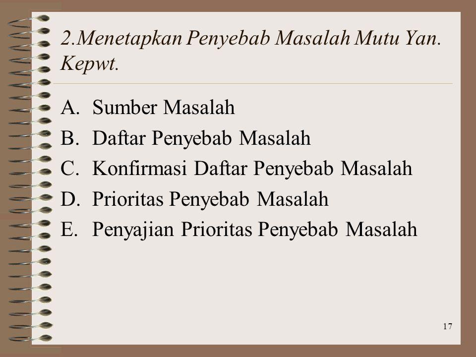 2.Menetapkan Penyebab Masalah Mutu Yan. Kepwt.