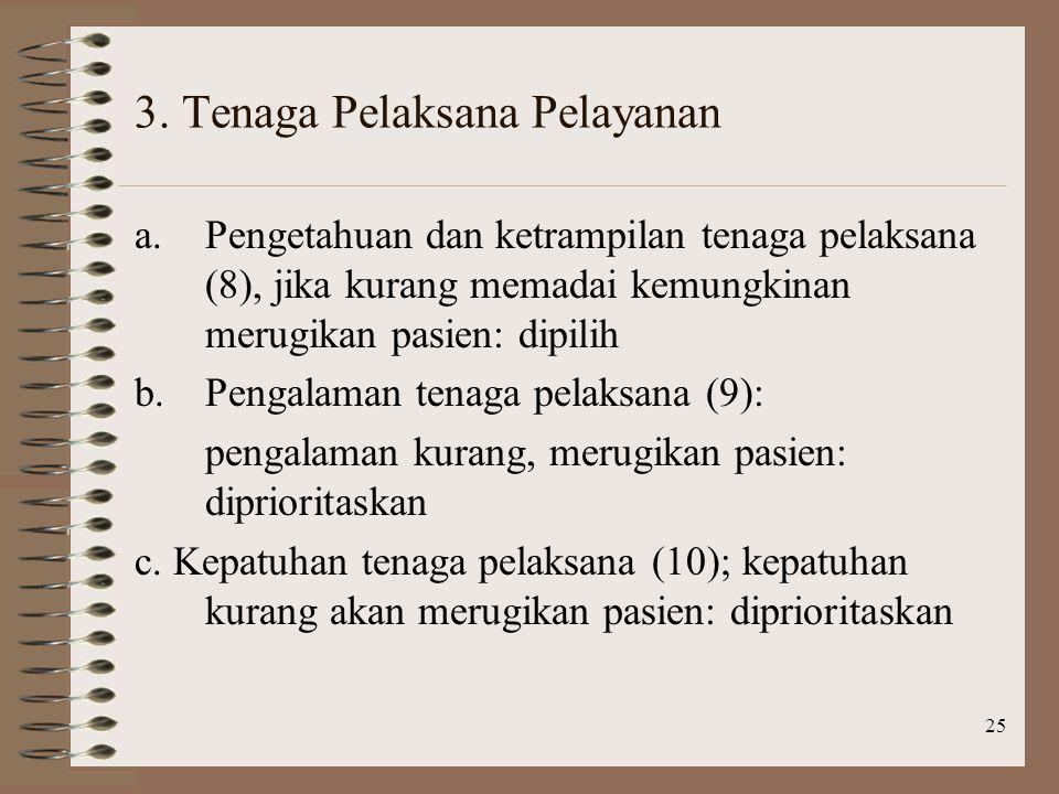 3. Tenaga Pelaksana Pelayanan