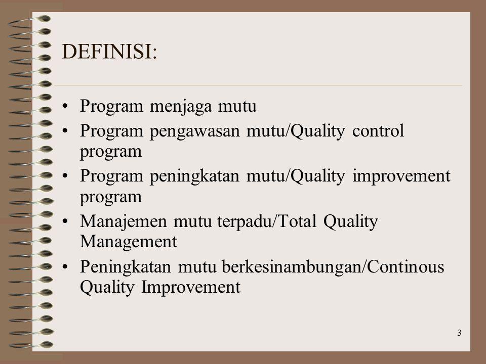 DEFINISI: Program menjaga mutu