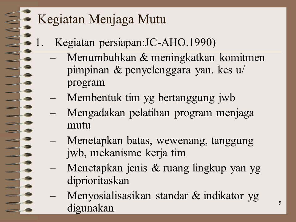 Kegiatan Menjaga Mutu Kegiatan persiapan:JC-AHO.1990)