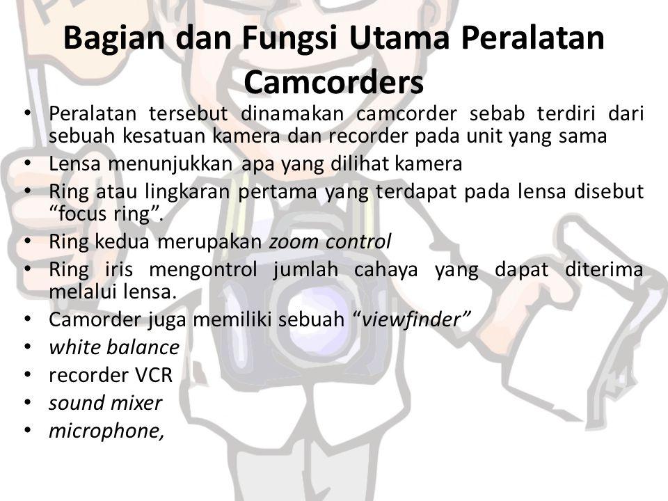 Bagian dan Fungsi Utama Peralatan Camcorders