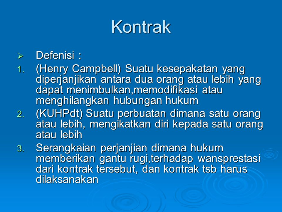 Kontrak Defenisi :