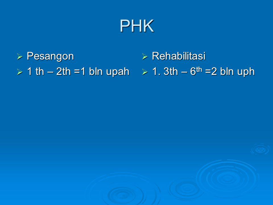 PHK Pesangon 1 th – 2th =1 bln upah Rehabilitasi