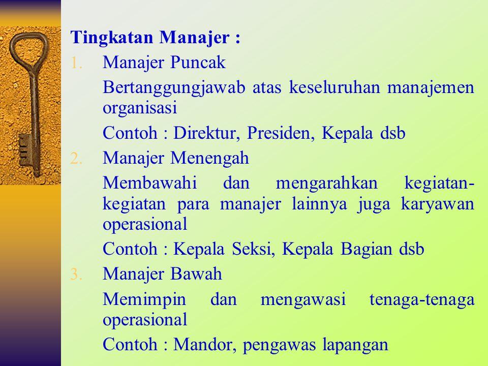 Tingkatan Manajer : Manajer Puncak. Bertanggungjawab atas keseluruhan manajemen organisasi. Contoh : Direktur, Presiden, Kepala dsb.