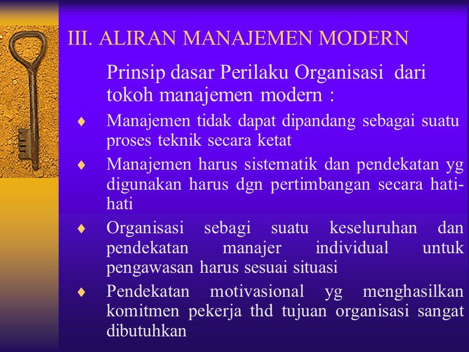 III. ALIRAN MANAJEMEN MODERN