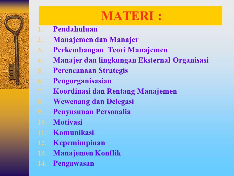 MATERI : Pendahuluan Manajemen dan Manajer