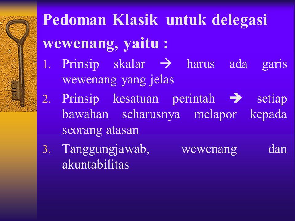 Pedoman Klasik untuk delegasi wewenang, yaitu :