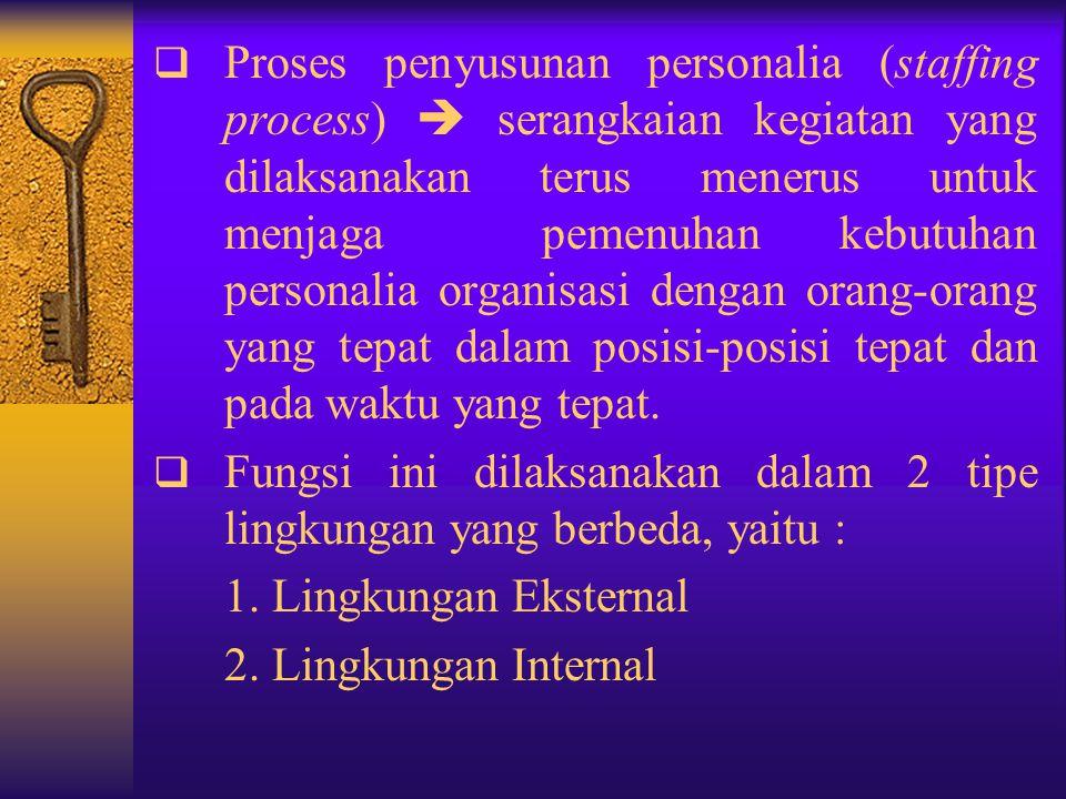 Proses penyusunan personalia (staffing process)  serangkaian kegiatan yang dilaksanakan terus menerus untuk menjaga pemenuhan kebutuhan personalia organisasi dengan orang-orang yang tepat dalam posisi-posisi tepat dan pada waktu yang tepat.