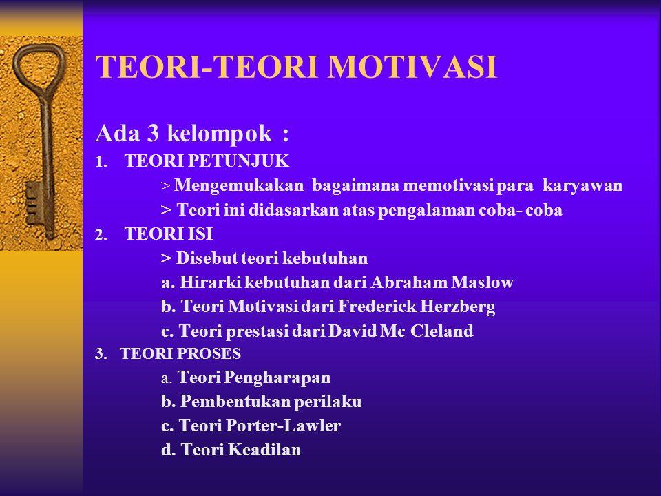 TEORI-TEORI MOTIVASI Ada 3 kelompok :