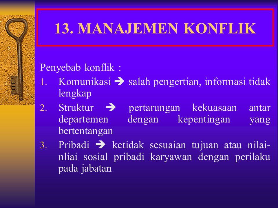 13. MANAJEMEN KONFLIK Penyebab konflik :