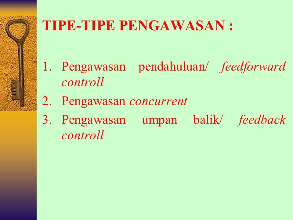 TIPE-TIPE PENGAWASAN :