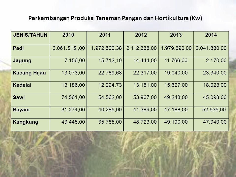 Perkembangan Produksi Tanaman Pangan dan Hortikultura (Kw)