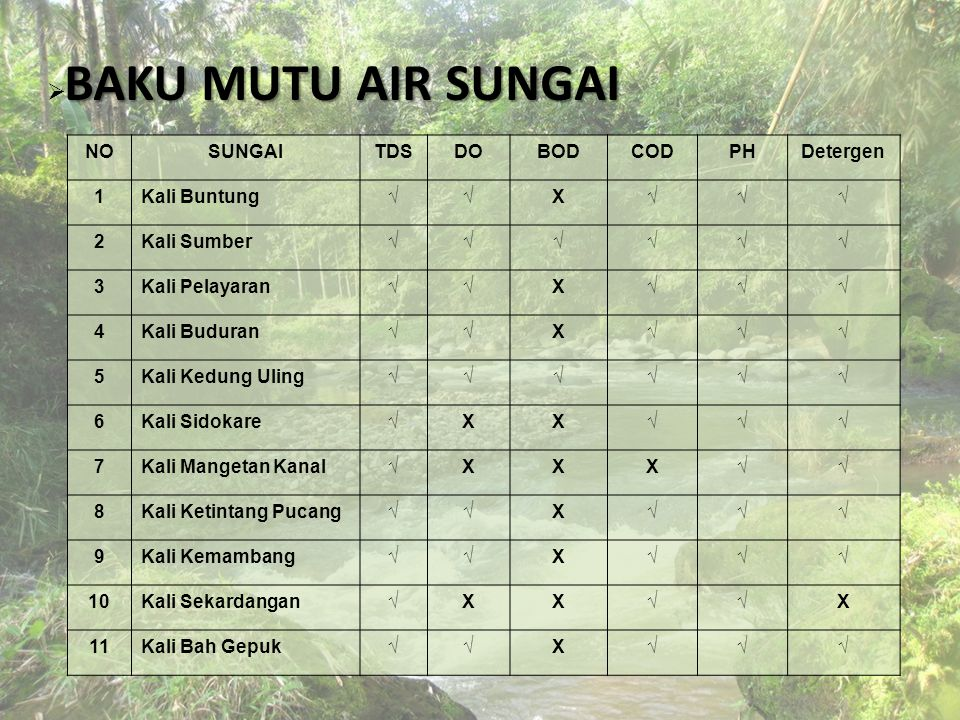 BAKU MUTU AIR SUNGAI NO SUNGAI TDS DO BOD COD PH Detergen 1