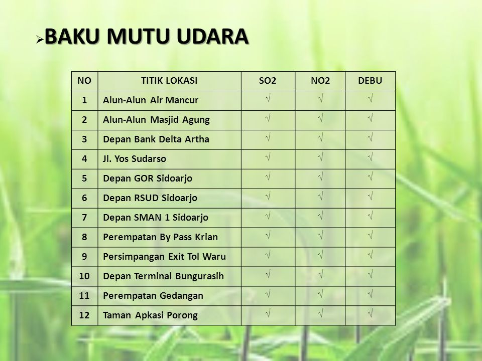BAKU MUTU UDARA NO TITIK LOKASI SO2 NO2 DEBU 1 Alun-Alun Air Mancur 2