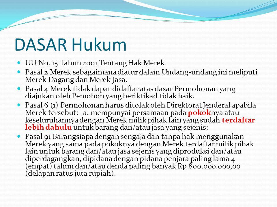 DASAR Hukum UU No. 15 Tahun 2001 Tentang Hak Merek