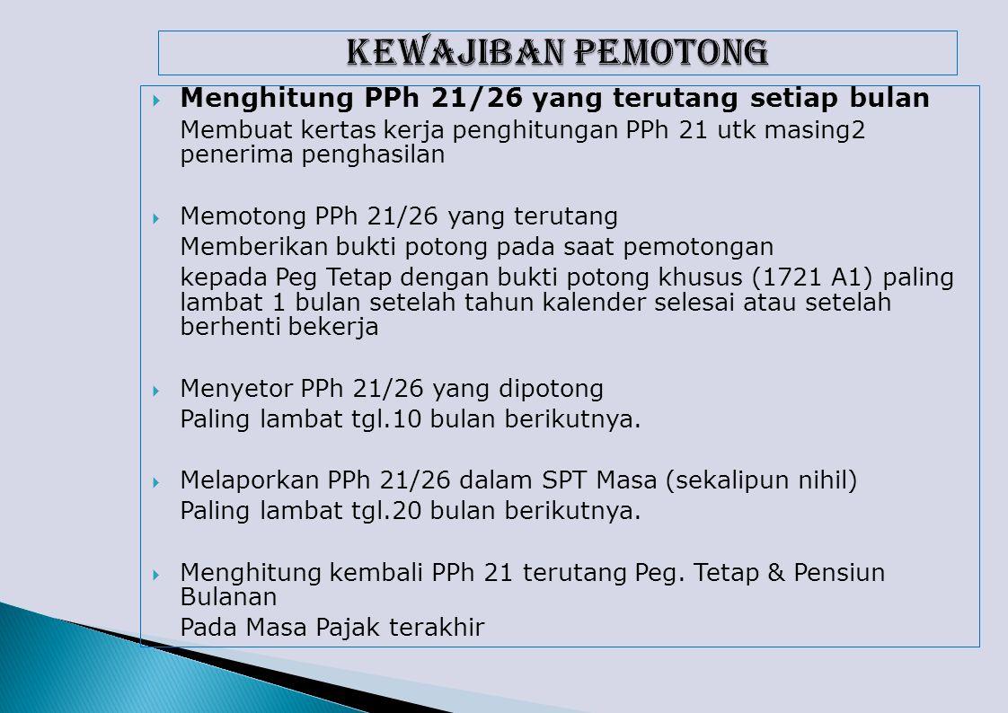 KEWAJIBAN PEMOTONG Menghitung PPh 21/26 yang terutang setiap bulan