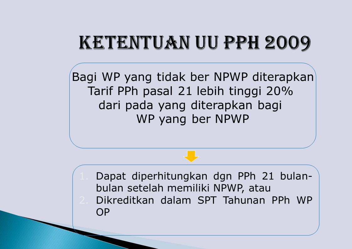Ketentuan UU PPh 2009 Bagi WP yang tidak ber NPWP diterapkan