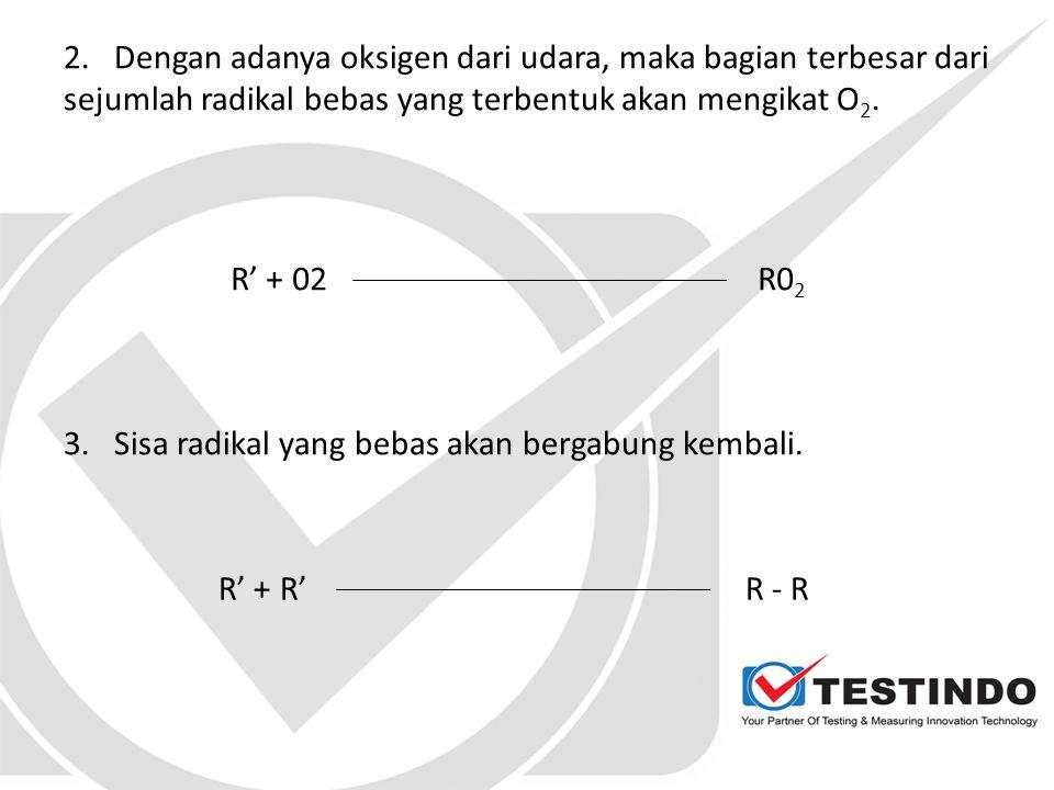 2. Dengan adanya oksigen dari udara, maka bagian terbesar dari sejumlah radikal bebas yang terbentuk akan mengikat O2.