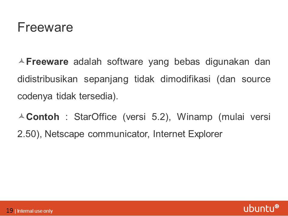 Freeware Freeware adalah software yang bebas digunakan dan didistribusikan sepanjang tidak dimodifikasi (dan source codenya tidak tersedia).