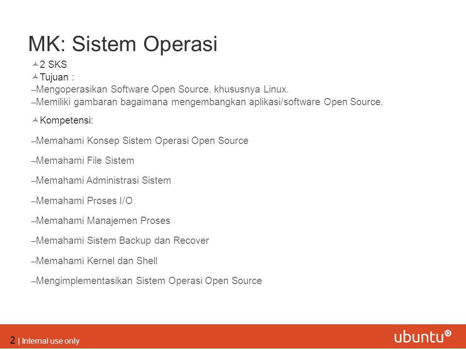 MK: Sistem Operasi 2 SKS Tujuan :