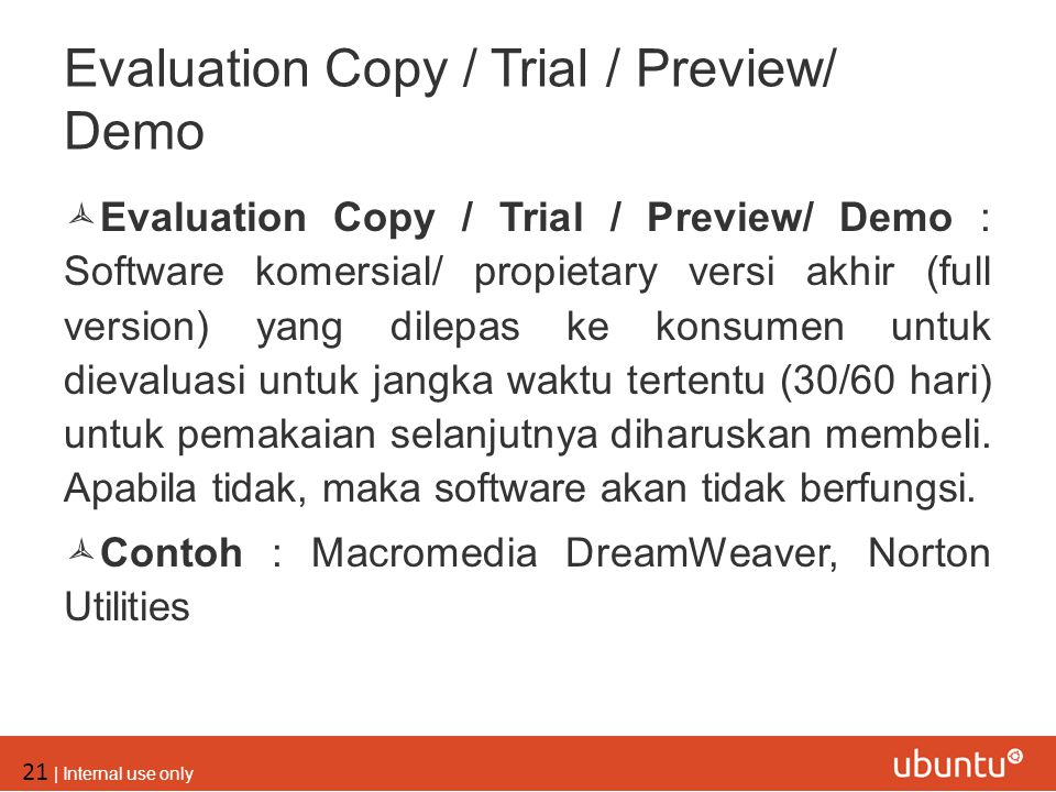Evaluation Copy / Trial / Preview/ Demo