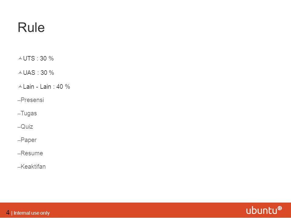 Rule UTS : 30 % UAS : 30 % Lain - Lain : 40 % Presensi Tugas Quiz