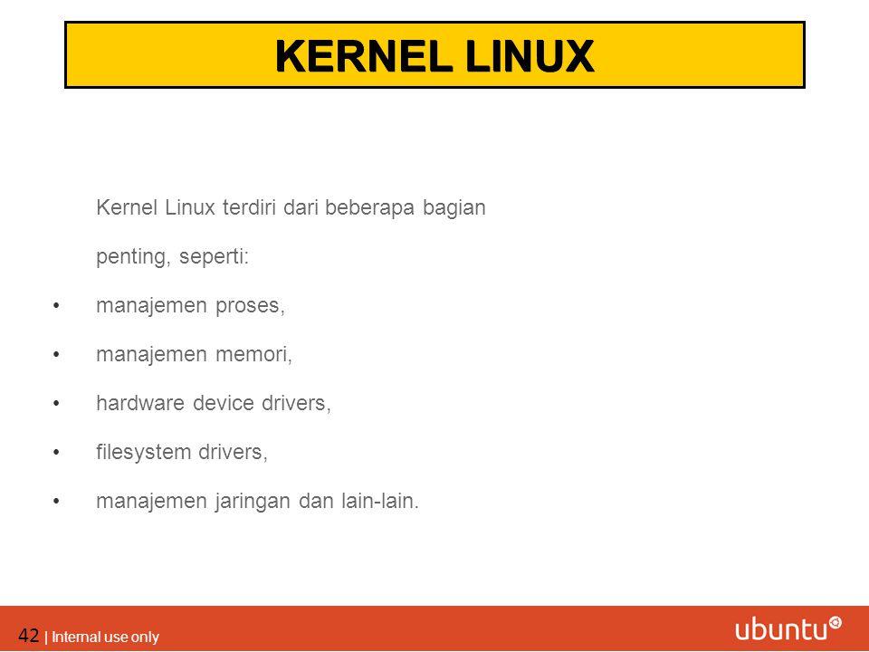KERNEL LINUX Kernel Linux terdiri dari beberapa bagian