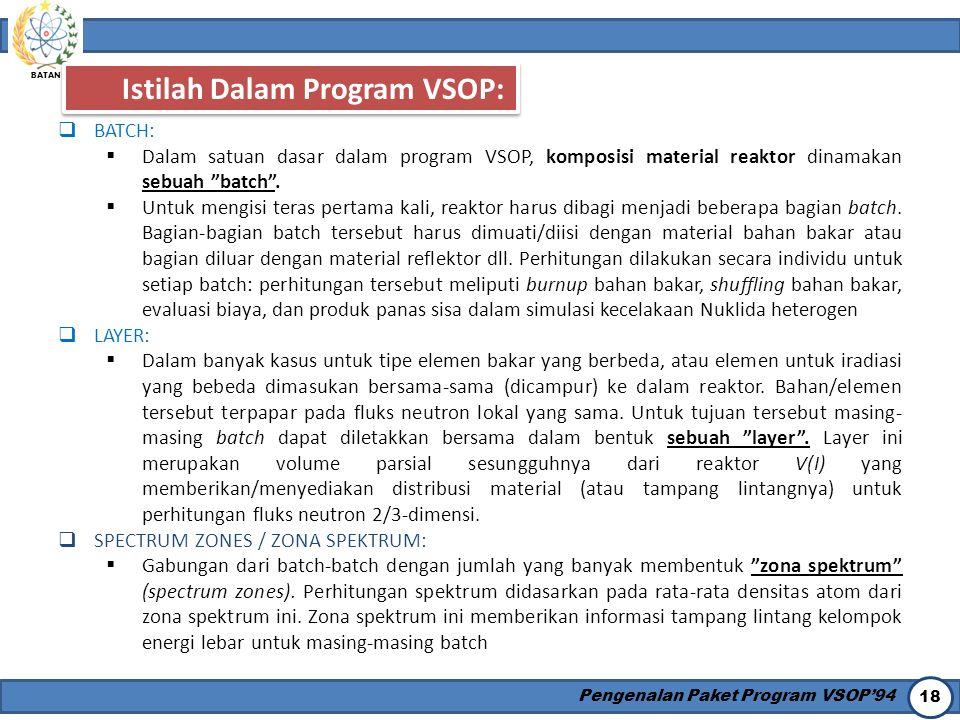 Istilah Dalam Program VSOP: