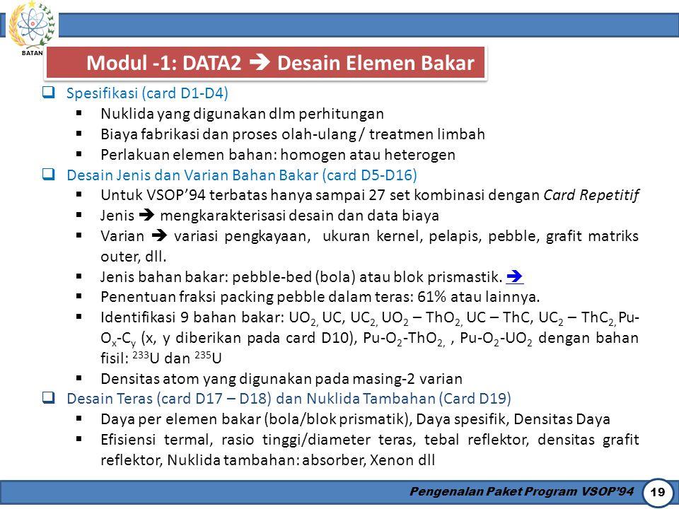 Modul -1: DATA2  Desain Elemen Bakar