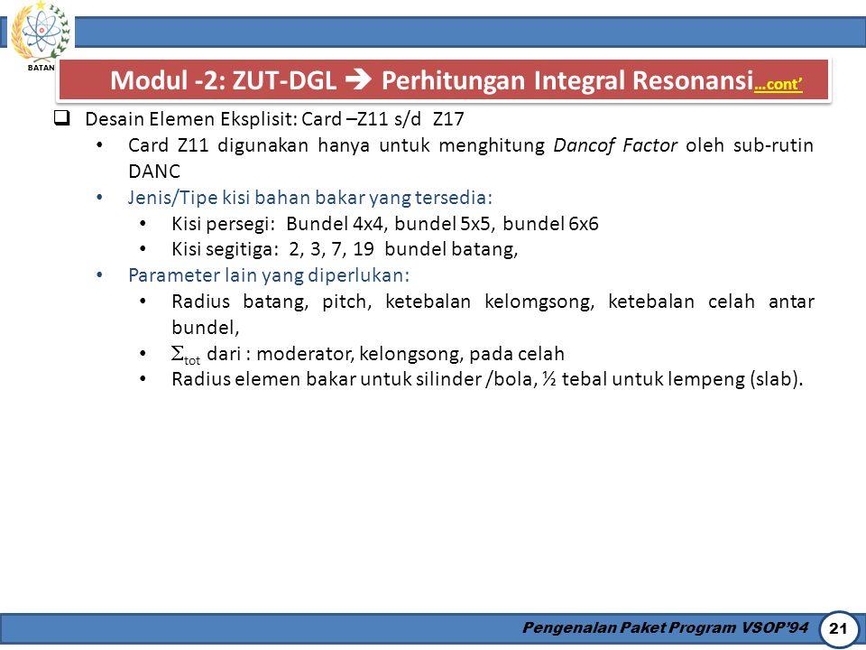 Modul -2: ZUT-DGL  Perhitungan Integral Resonansi…cont'