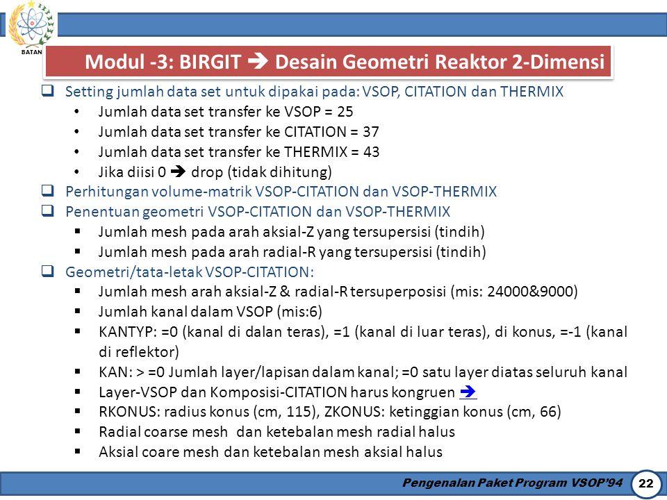 Modul -3: BIRGIT  Desain Geometri Reaktor 2-Dimensi