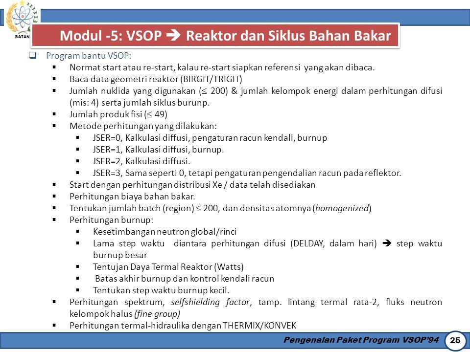 Modul -5: VSOP  Reaktor dan Siklus Bahan Bakar