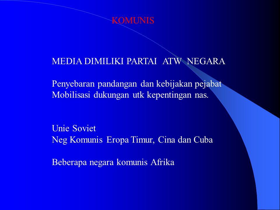 KOMUNIS MEDIA DIMILIKI PARTAI ATW NEGARA. Penyebaran pandangan dan kebijakan pejabat. Mobilisasi dukungan utk kepentingan nas.