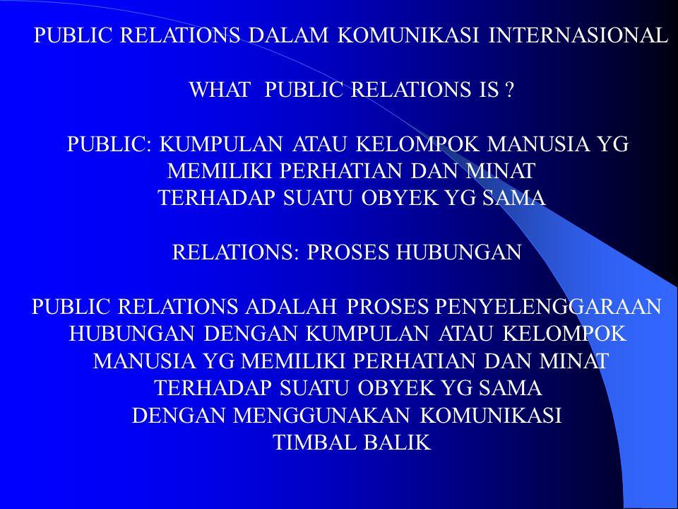 PUBLIC RELATIONS DALAM KOMUNIKASI INTERNASIONAL