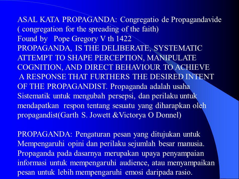 ASAL KATA PROPAGANDA: Congregatio de Propagandavide
