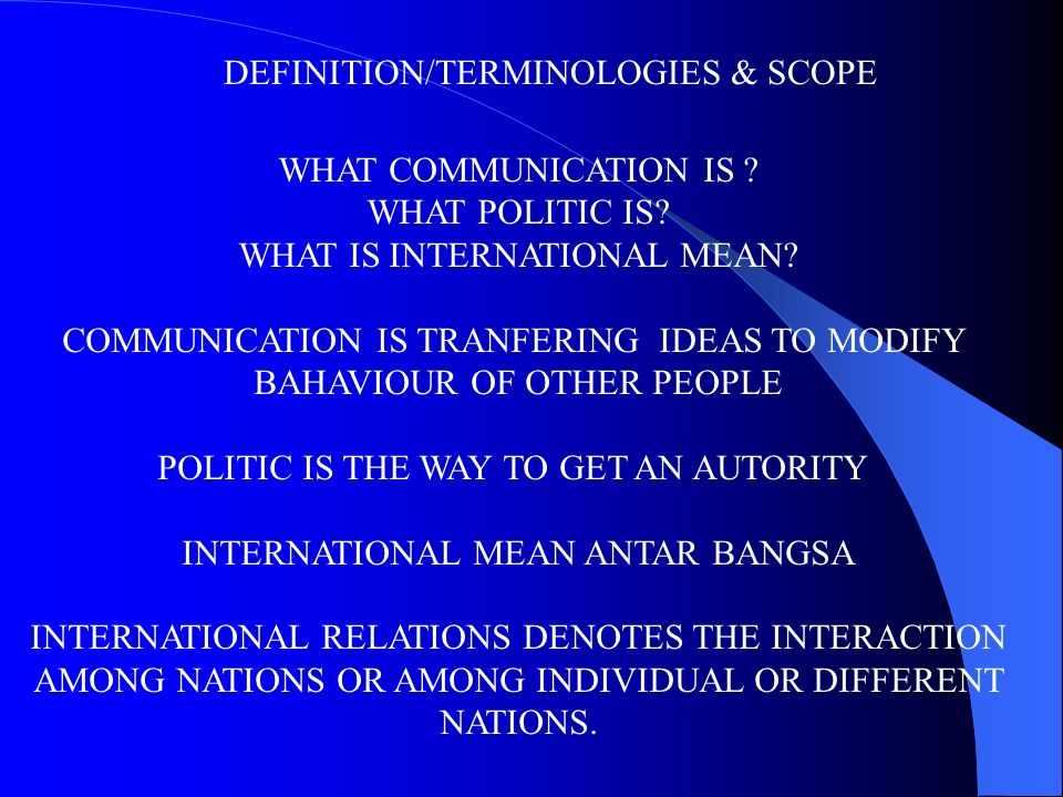 DEFINITION/TERMINOLOGIES & SCOPE