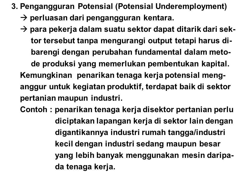 3. Pengangguran Potensial (Potensial Underemployment)