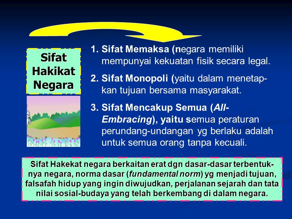 Sifat Hakikat Negara Sifat Memaksa (negara memiliki mempunyai kekuatan fisik secara legal.