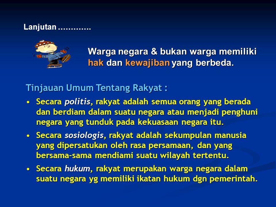 Warga negara & bukan warga memiliki hak dan kewajiban yang berbeda.