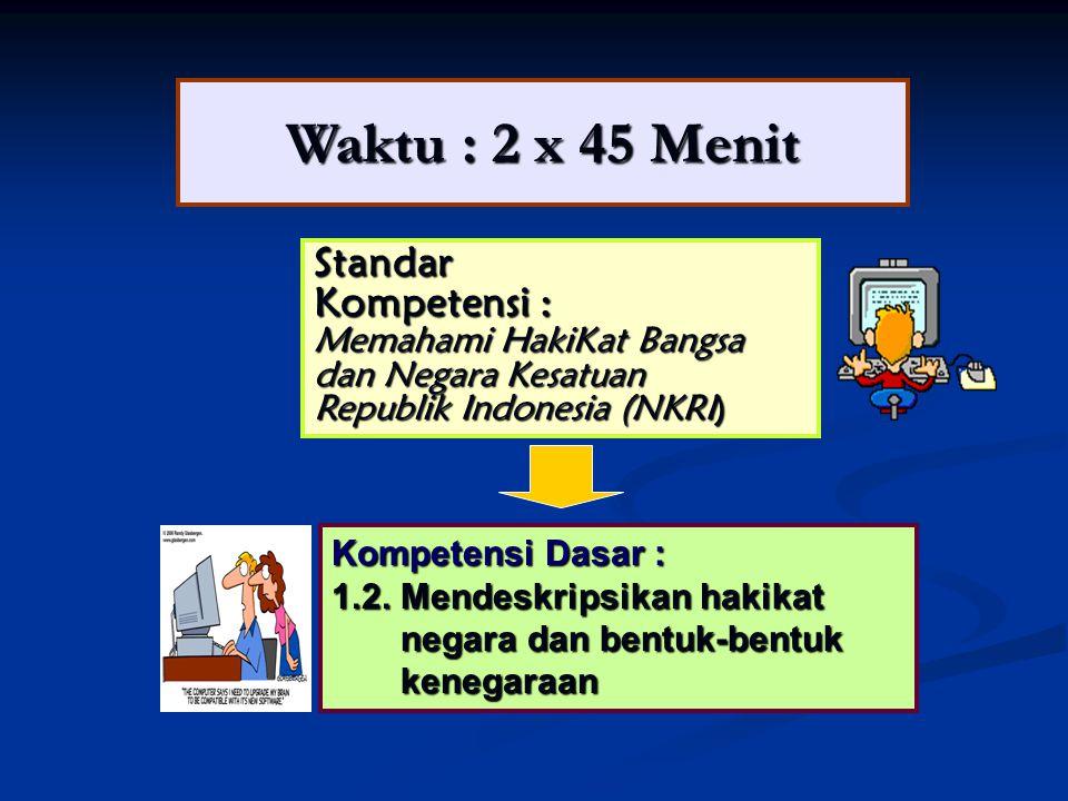 Waktu : 2 x 45 Menit Standar Kompetensi : Memahami HakiKat Bangsa