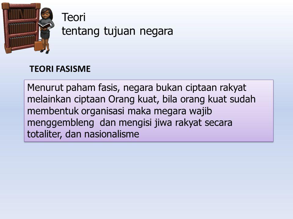Teori tentang tujuan negara TEORI FASISME