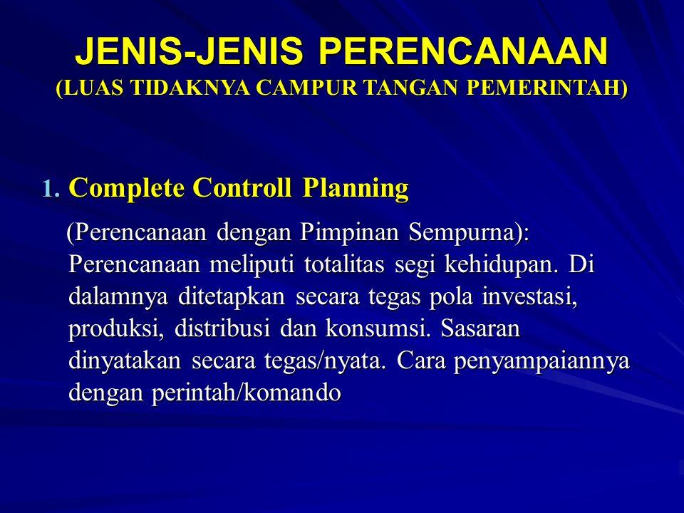 JENIS-JENIS PERENCANAAN (LUAS TIDAKNYA CAMPUR TANGAN PEMERINTAH)