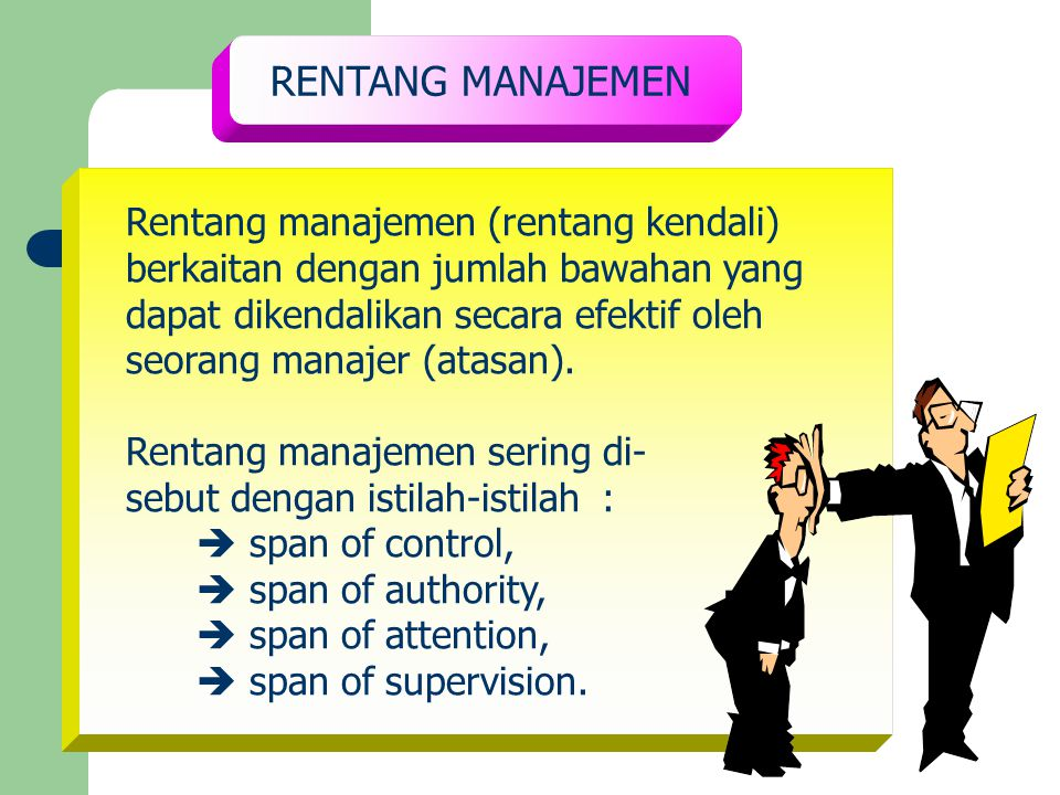 RENTANG MANAJEMEN Rentang manajemen (rentang kendali)