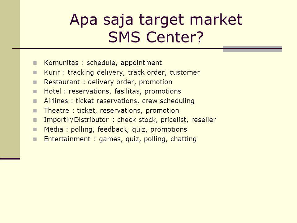 Apa saja target market SMS Center
