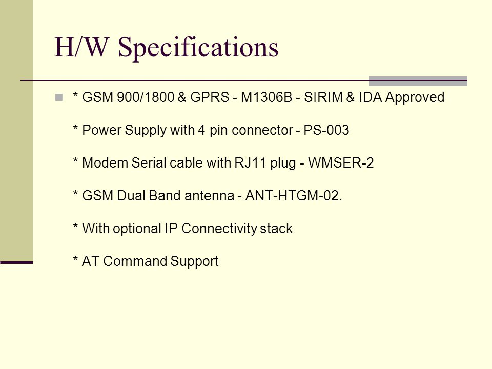 H/W Specifications