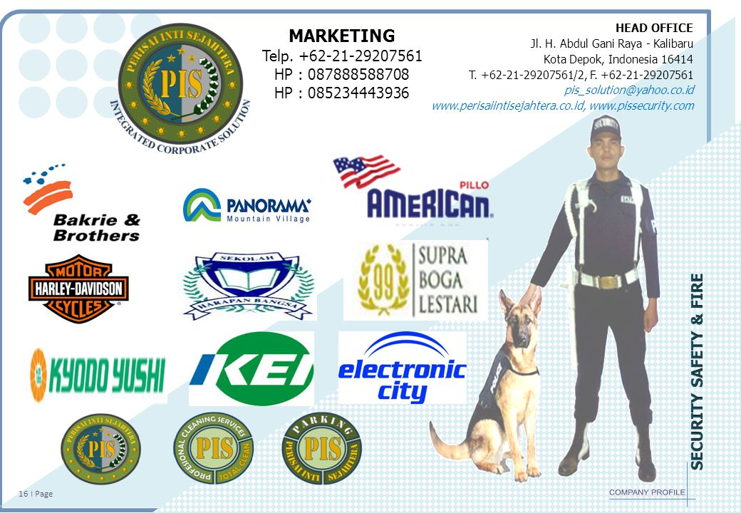 COMPANY PROFILE MARKETING Telp. +62-21-29207561 HP : 087888588708