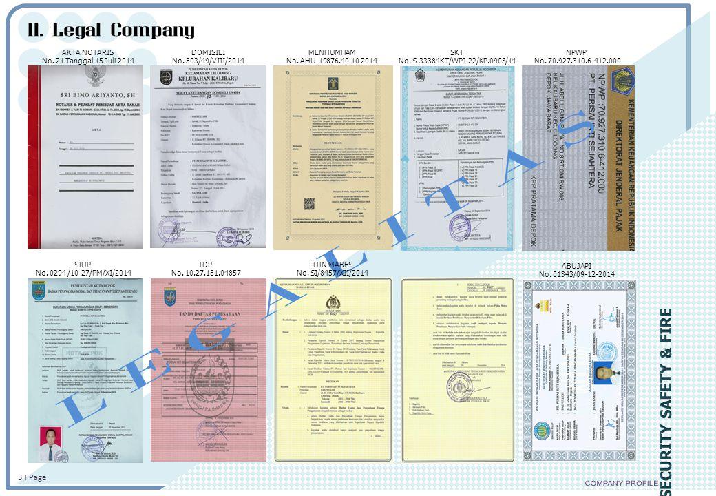 II. Legal Company L E G A L I T A S COMPANY PROFILE