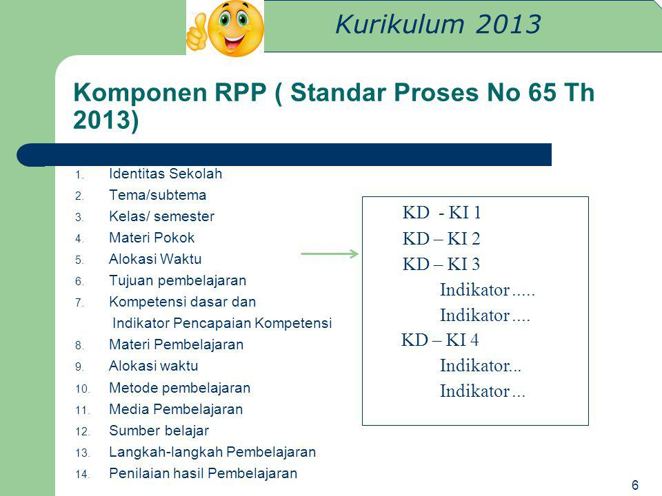 Komponen RPP ( Standar Proses No 65 Th 2013)