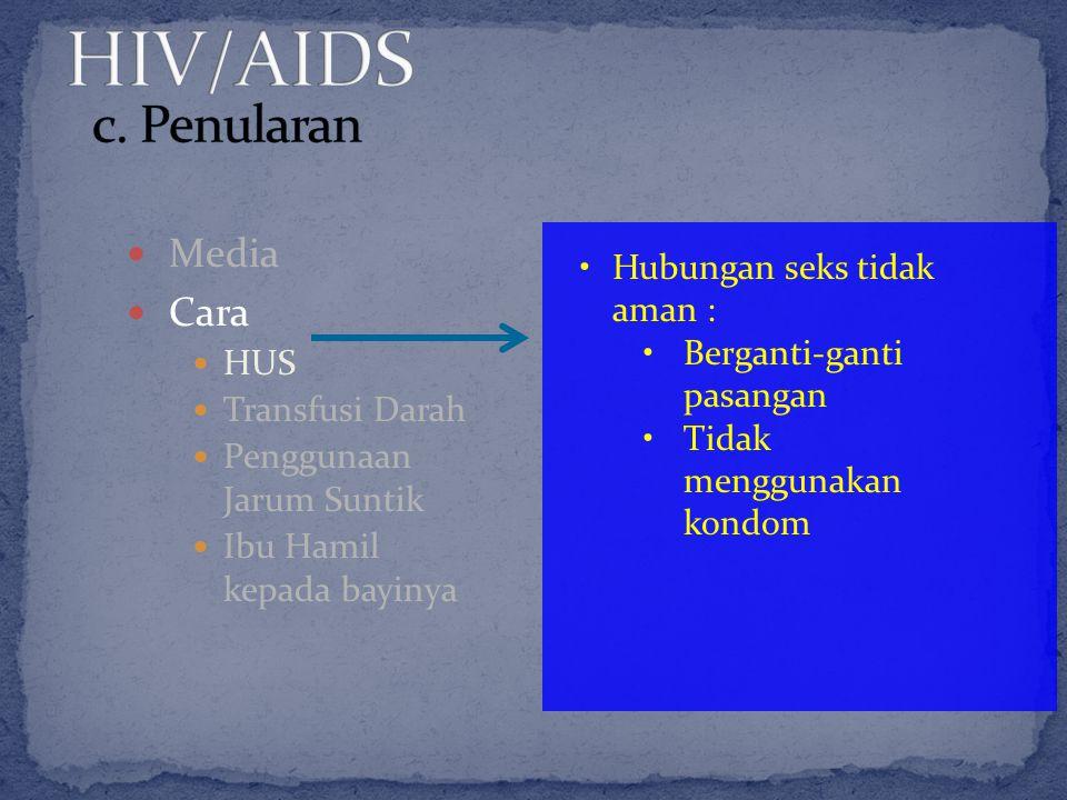 HIV/AIDS c. Penularan Media Cara Hubungan seks tidak aman : HUS